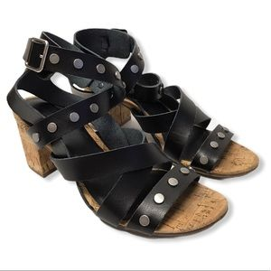 American Eagle | Strappy Stud Corked Heel Sandals